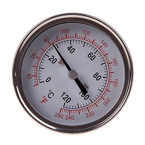 """Termômetro Analógico dail medidor temperatura 1/2 """"de aço inoxidável"""