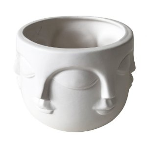 Vaso Face Decorativo de Cerâmica Branco