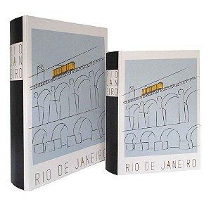 CAIXAS LIVRO DE MADEIRA RIO DE JANEIRO - CJ 2 PEÇAS