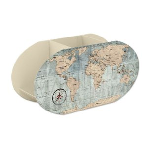 Porta Lápis Mapa Mundi Vintage