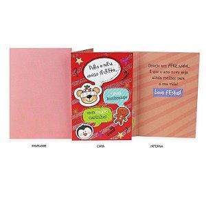 Cartão de Natal Amigo Secreto Urso e Pinguim