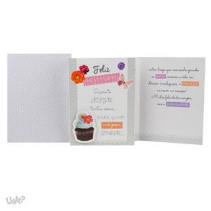 Cartão de Aniversário Cupcakes G