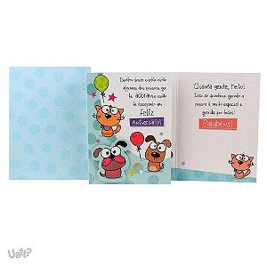 Cartão de Aniversário Cão e Gato G