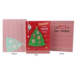 Cartão de Natal Árvore De Corujinhas G