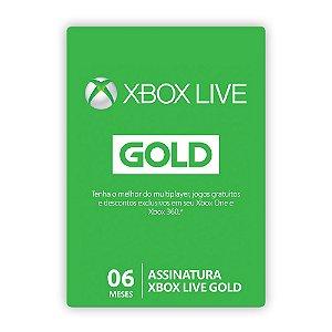 Cartão Xbox Live Gold - 6 Meses
