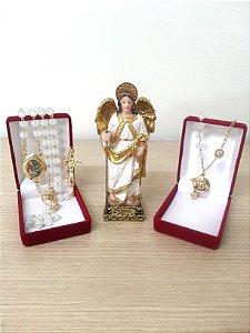 Terço Relicário São Rafael e Dezena em Forma de Pulseira Imagem 12cm