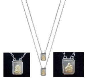Escapulário em Aço e Ouro (Produto Esgotado)