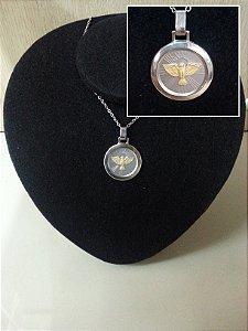 Medalha Divino Espirito Santo em Aço e Ouro (Produto Esgotado)