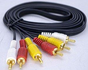 Kit com 10 Uni. Cabo 3RCA Áudio Vídeo Dourado Reforçado 2mt  WLW00233-2T