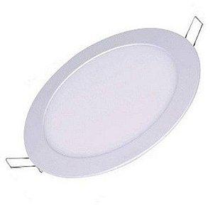Kit 6un Plafon Painel LED  EMBUTIR REDONDO 12W Branco Frio
