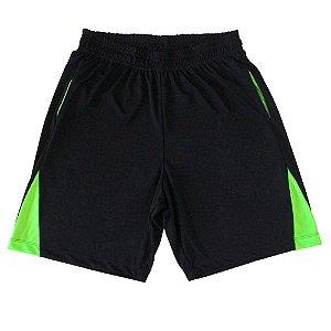 Bermuda DryFit Cor Preta Detalhe Verde Fluorescente