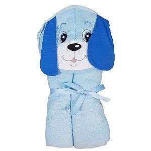 Toalha Banho Bebe Com Capuz Forro Fralda Cachorro Azul Menino