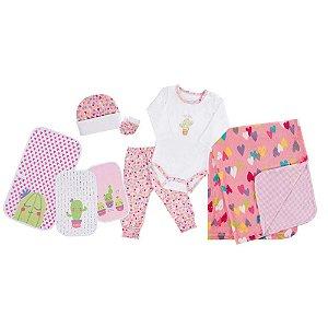 Kit 7 Pç Maternidade Enxoval Completo Bebe Cacto Rosa Menina