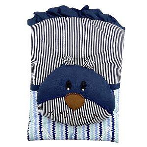 Capa De Carrinho Com Travesseiro Bruna Baby Chevron Marinho