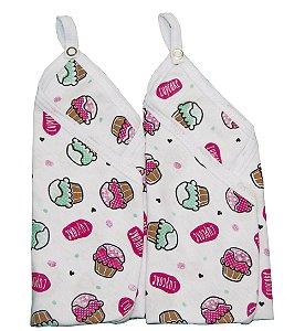 Pano de Boca Baby Deluxe 02 Peças com Prendedor de Chupeta Branco Cupcake