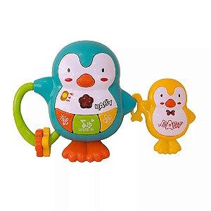 Pinguim com Filhote Musical Infantil Coloria Baby Music