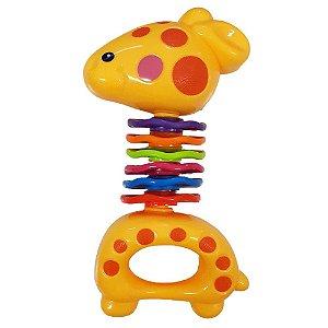 Chocalho Brinquedo de Bebe Girafa Amarela +3 meses Diverte o Bebe