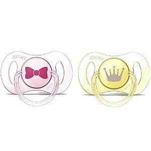 Mini Chupetas Avent Philips 0-2M Dupla Rosa e Amarelo
