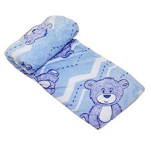 Cobertor Bebe Microfibra Prime 110 x 150cm Urso Bear Azul