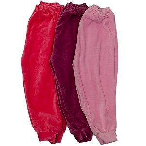 Calça Em Plush Kit 3 Baby Deluxe Rosa Feminino