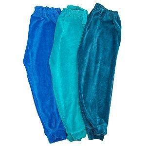Calça Em Plush Kit 3 Baby Deluxe Azul Masculino