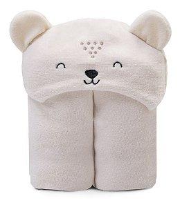 Cobertor Microfibra Mami Bichuus Com Capuz Papi Bege