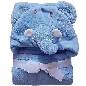Manta Com Capuz Jolitex Elefante Azul