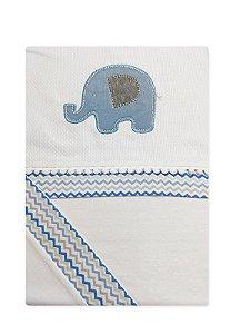 Lençol 3 Peças Baby Deluxe Bordado Elefante Azul
