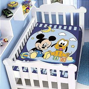 Cobertor infantil Jolitex Raschel Mickey e Plu Azul