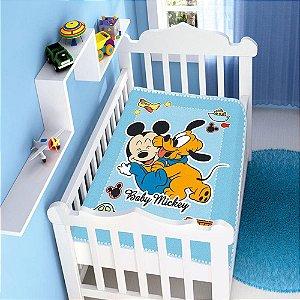 Cobertor infantil Jolitex Raschel Mickey Divertido Azul