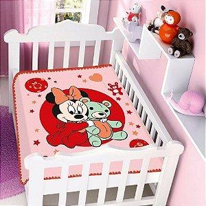 Cobertor infantil Jolitex Raschel Minnie Ursinho Rosa