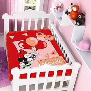 Cobertor infantil Jolitex Raschel Minnie Festa Vermelho