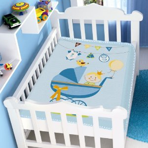 Cobertor Infantil Jolitex Raschel Carrinho De Bebe Azul Masculino