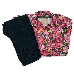Conjunto Angero Flajo Rosa Florido Feminino Tam 2
