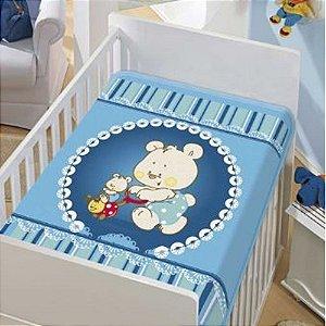 Cobertor Infantil Jolitex Tradicional Mamãe e Filho Azul Masculino