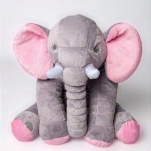 Bichos De Pelúcia WU  Para Bebês Elefante Cinza e Rosa
