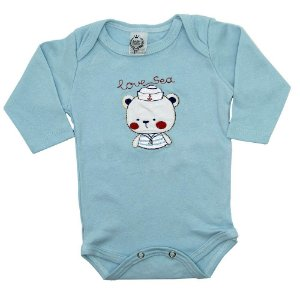 Body Manga Longa Baby Deluxe Azul Ursinho Marinheiro Bordado