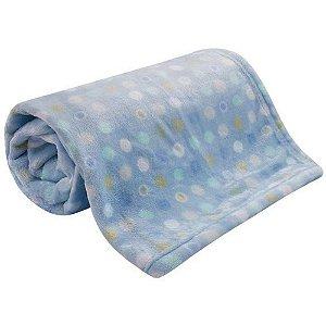 Cobertor Bebe Microfibra Flannel Camesa Azul Poa