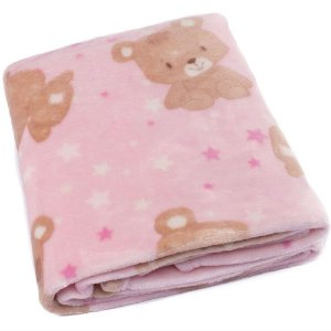 Cobertor Bebe Microfibra Flannel Camesa Rosa Urso