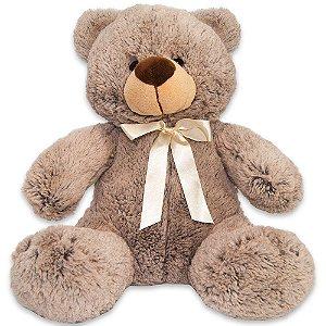 Bicho de Pelúcia Fofy Toys 31cm Urso Marron Lacinho Branco