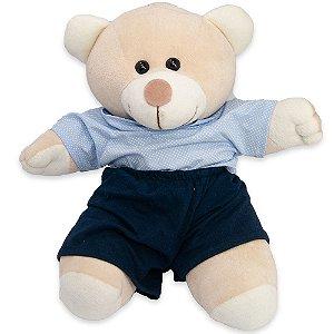 Bicho de Pelúcia JS Confecções 26cm Urso Baby Bege e Azul