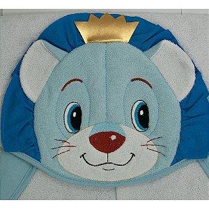 Toalha De Banho Kolola Forrada Com Capuz Leão Bordado Azul