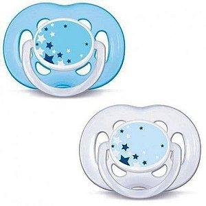 Chupeta Avent Freeflow Noturna 6-18 Meses Azul E Transparente