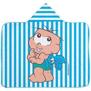 Toalha De Banho Infantil Com Capuz Cebolinha Azul