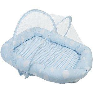 Berço Ninho Bebe Com Mosqueteiro Baby Joy Nuvenzinha Azul