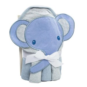 Kit Toalha Bordada Com Capuz E Toalha De Boca Camesa Elefante Azul