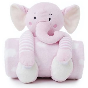 Manta Bebe Naninha Loani Elefante Rosa
