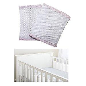 Protetor de Berço Baby Deluxe Rosa Chevron
