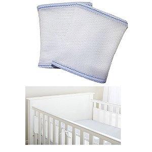 Protetor de Berço Baby Deluxe Azul Chevron