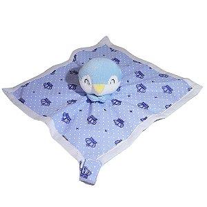 Naninha para Bebes Pelucia Com Prendedor de Chupeta Pinguim Azul